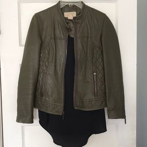 Michael Kors leather moto olive green army quilted